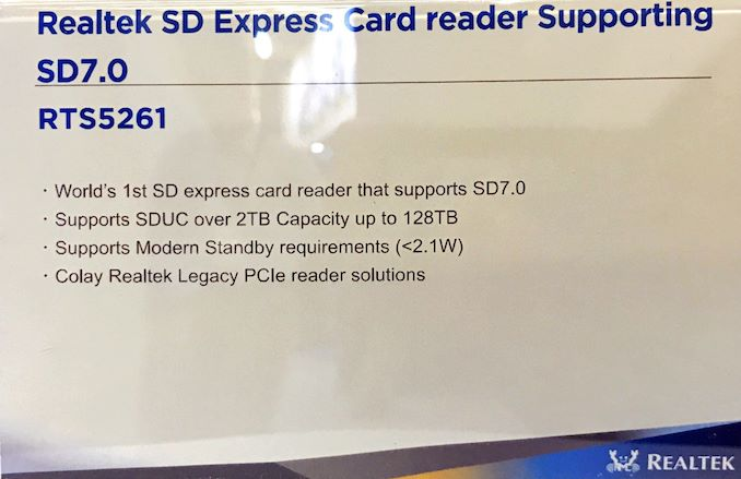 Realtek Showcases RTS5261 SD Express Controller, up to 128 TB at 1GB/s