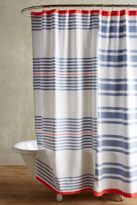 Red Blue Striped Shower Curtain Home The Honoroak