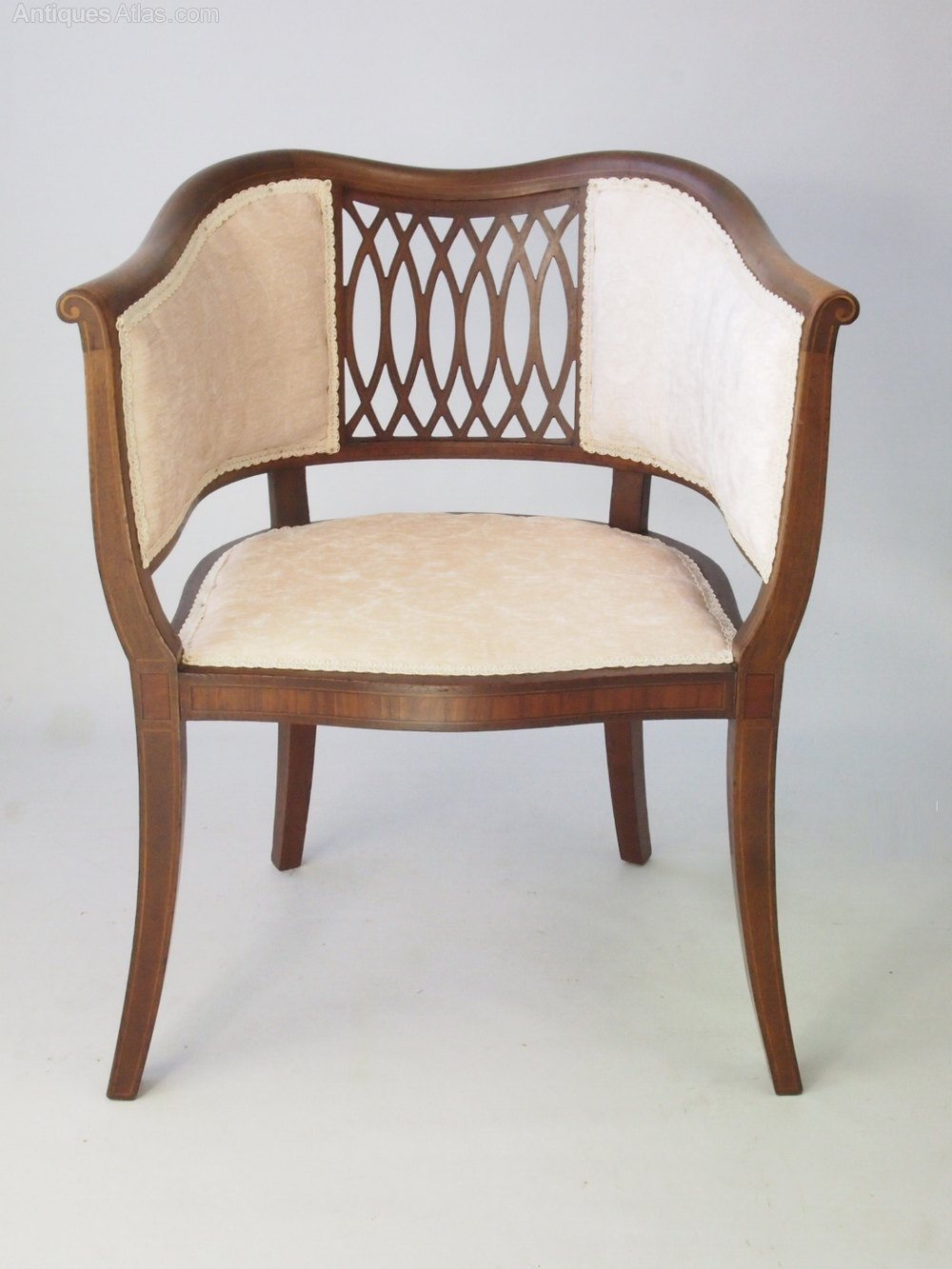 Patterned Tub Chairs Antique Edwardian Mahogany Tub Chair
