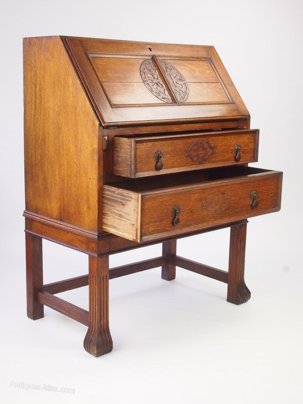 Vintage Oak Bureau Hall Bureau Writing Desk Antiques Atlas