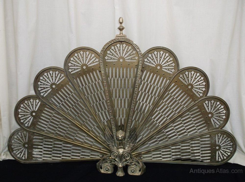 Vintage Brass Folding Fan Fire Screen