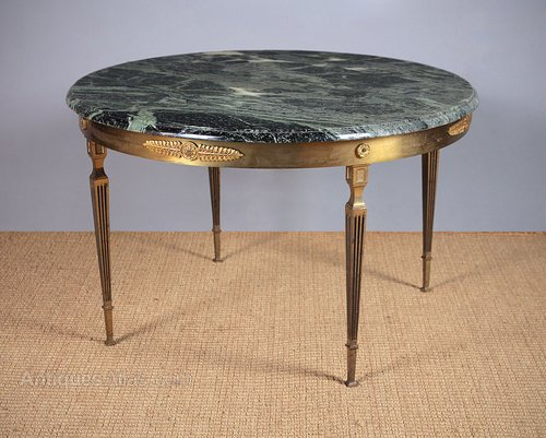 marble brass coffee table c 1950