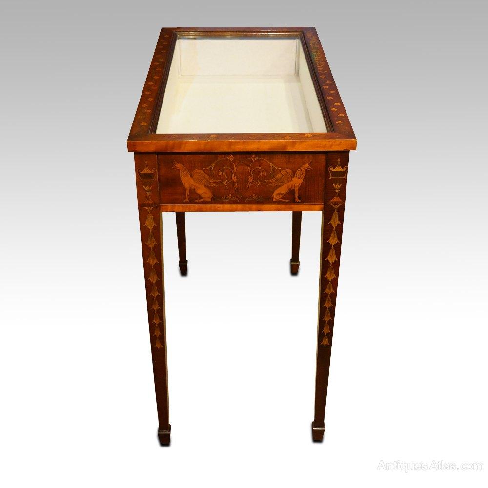 victorian inlaid curio table antiques