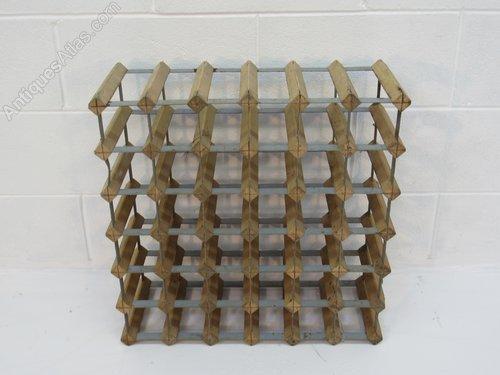 vintage french wood and metal wine rack x 2