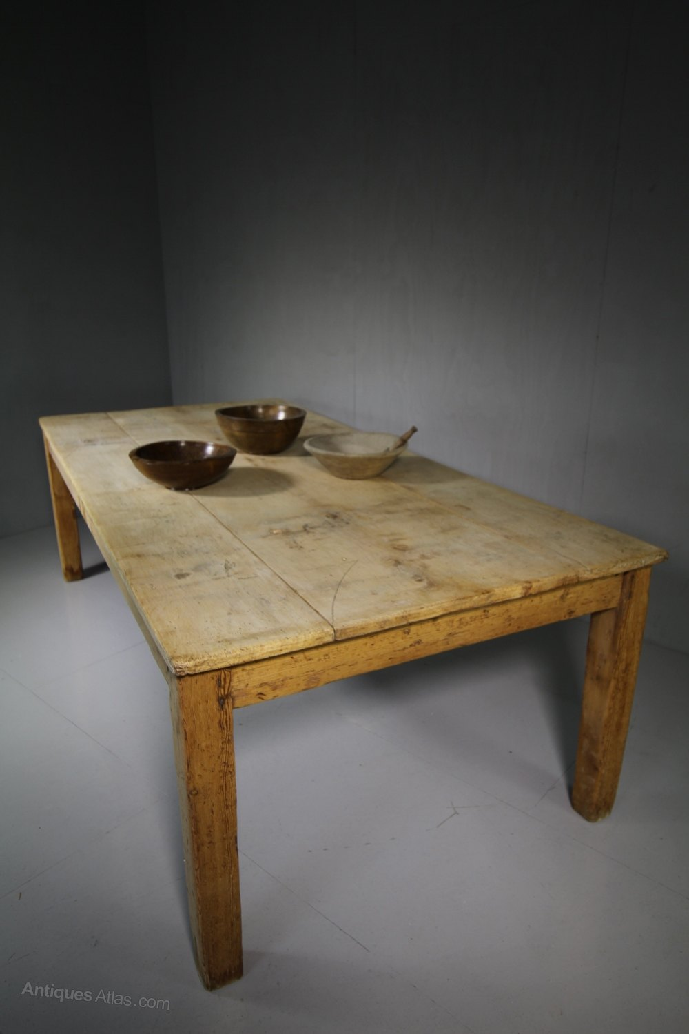Very Large Antique Sycamore Farmhouse Dining Table