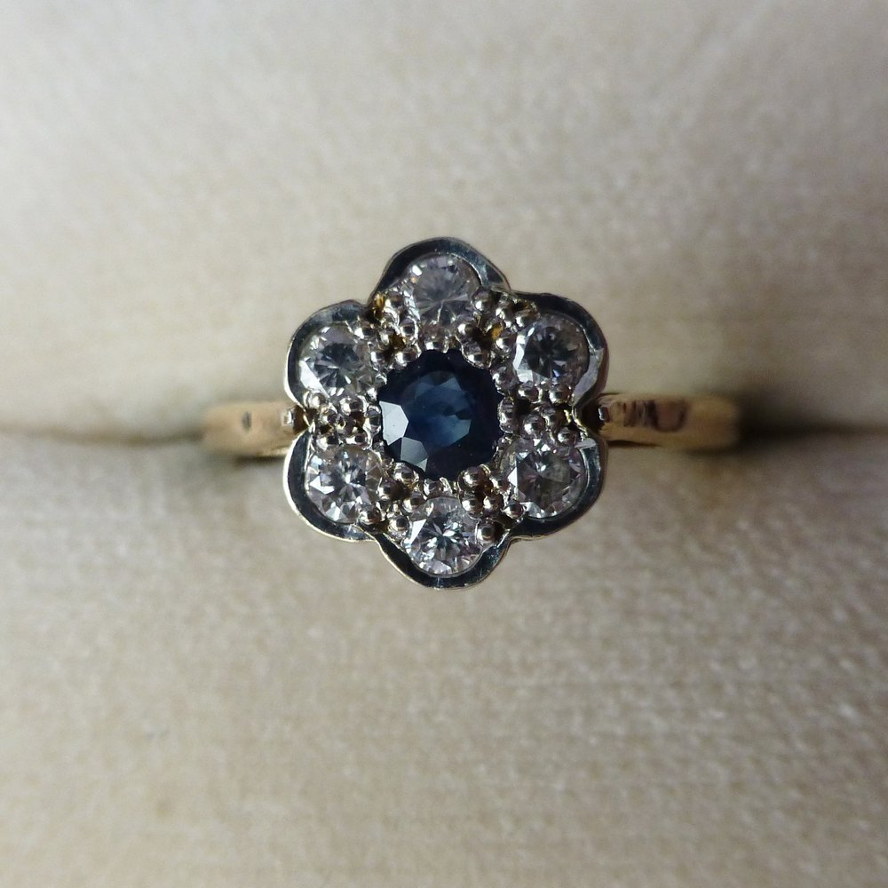 Antiques Atlas Sapphire And Diamond Flower Ring 9Ct Gold