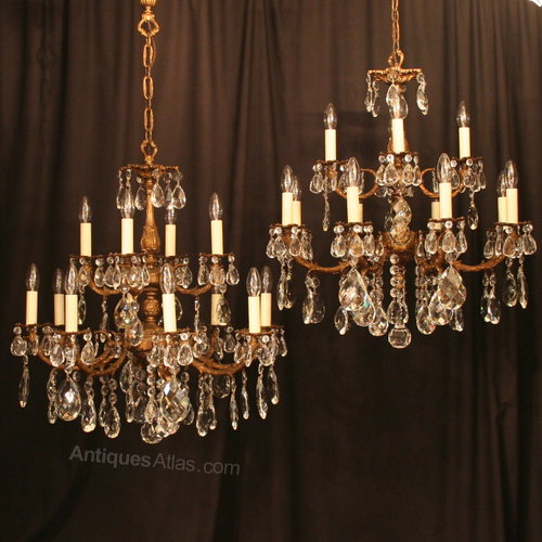 An Italian Pair Of 12 Light Antique Chandeliers
