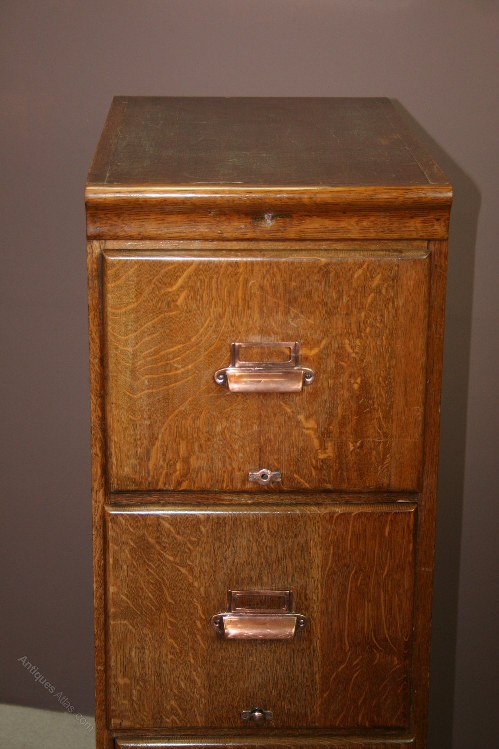 1920 S Oak 4 Drawer Filing Cabinet Antiques Atlas