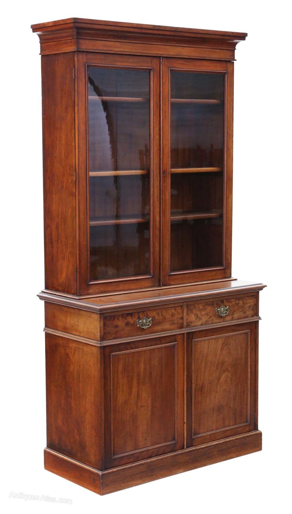 Victorian Mahogany Glazed Bookcase Cupboard Antiques Atlas