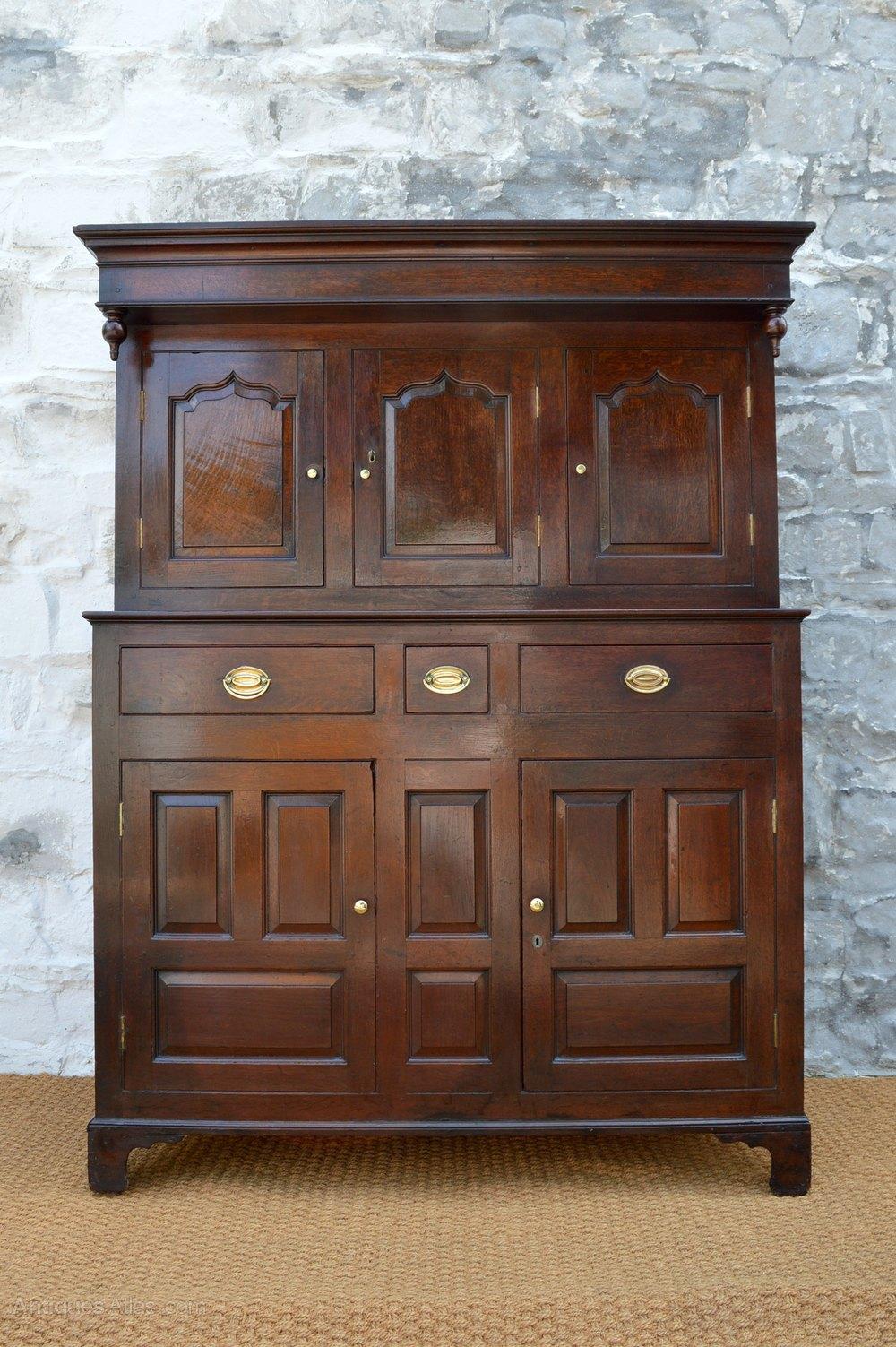18thC Welsh Oak Deuddarn Press Cupboard Antiques Atlas