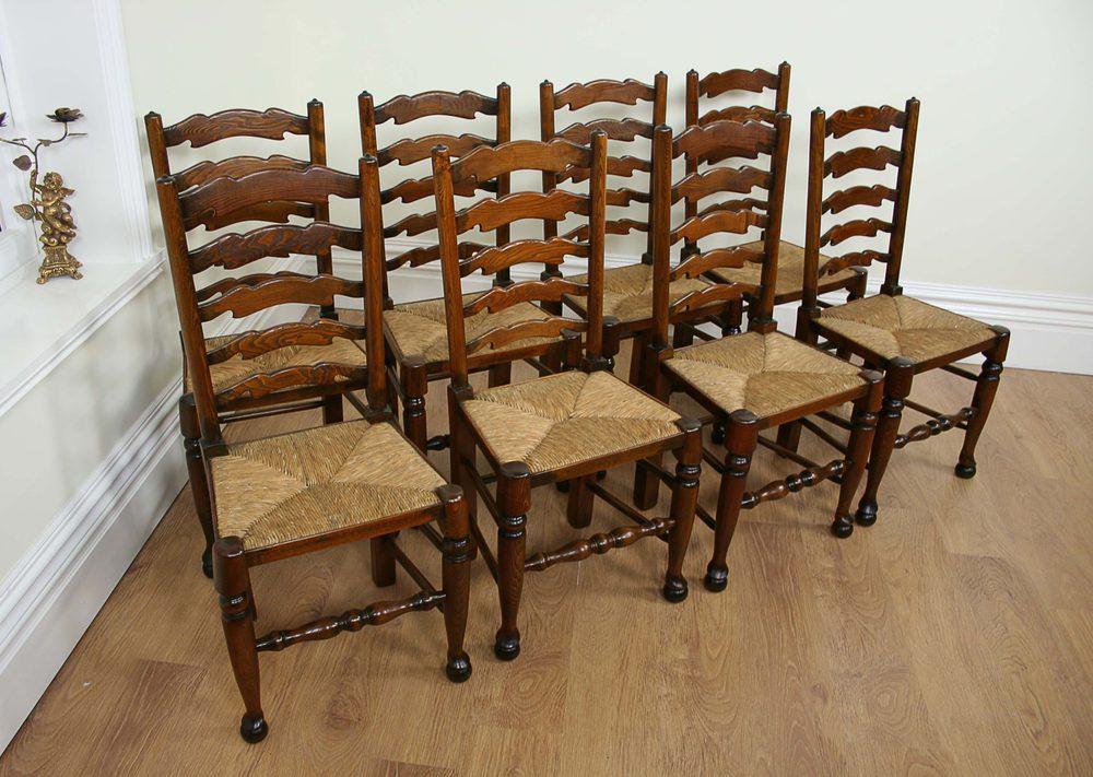 8 Ash Amp Elm Ladder Back Farmhouse Chairs C1900
