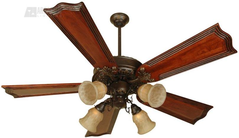 Craftmade P252 Presidential II 52  Traditional Ceiling Fan CM P252 Antique Brass motor finish with Standard Light Oak Polygloss Blades and Light  kit