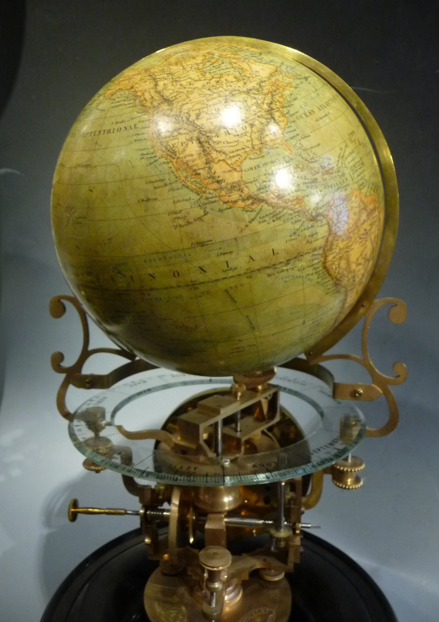 An Exceptional Desk Globe Clock Pendule Cosmographique
