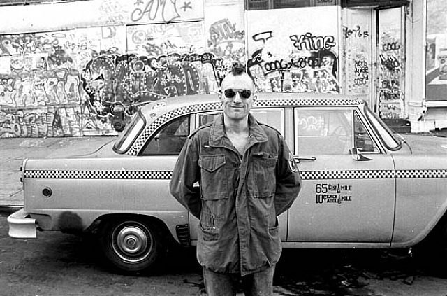 "Steve Schapiro, ""Taxi Driver"" DeNiro with Cab and Graffiti, New York"