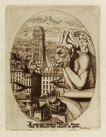 Charles Méryon's Le Styrge, inspired by the gothic statues on the Notre Dame Cathedral in Paris.