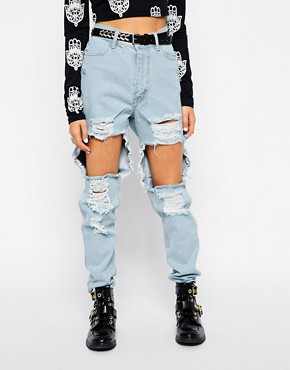 Image 1 of Your Eyes Lie Mom Jeans With Extreme Ripped Front
