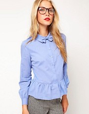 ASOS Shirt With Peplum And Detachable Bow Tie