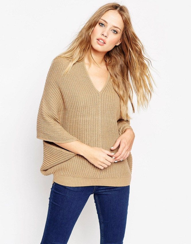 Image 1 of ASOS Cape Sweater With V-Neck