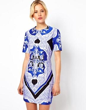 Image 1 - ASOS - Mini robe color block à imprimé foulard