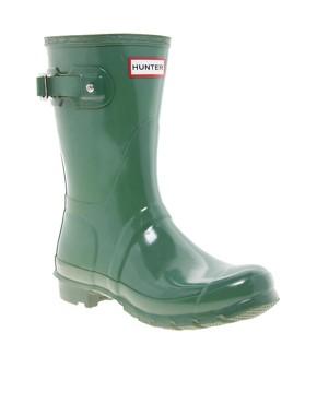 Image 1 ofHunter Original Short Green Gloss Wellington Boots
