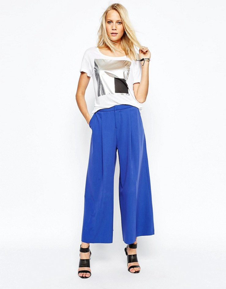 2nd Day Wide Leg Awkward Length Pant - Blue
