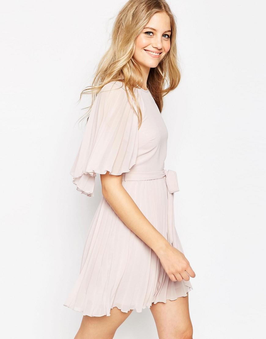 Image 1 ofASOS Flutter Sleeve Pleated Mini Dress