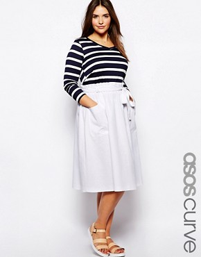 ASOS CURVE Midi Skirt In Linen - White