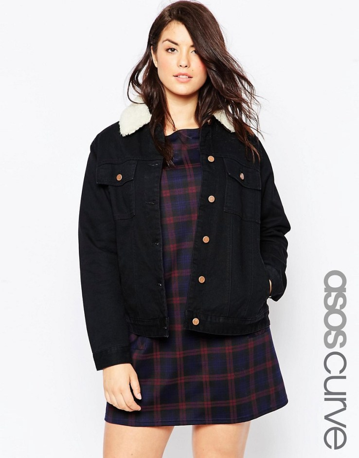 ASOS CURVE Classic Borg Denim Jacket in Black