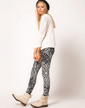 Image 1 of ASOS Leggings in Mono Abstract Print