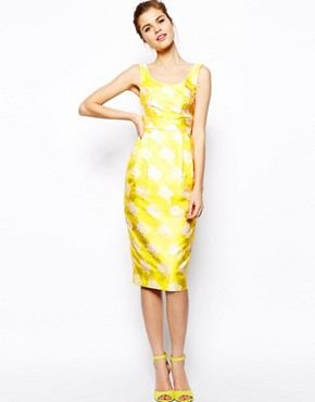 Image 1 of ASOS Marilyn Sash Jacquard Midi Dress