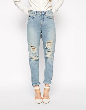 Image 1 of ASOS Original Rigid Mom Jeans in Naomi Wash