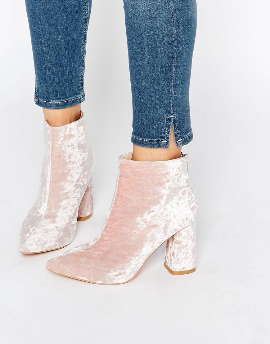 Image 1 of Daisy Street Pink Crushed Velvet Point Heeled Ankle Boots