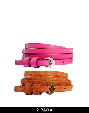ASOS 2 Pack Tan/Pink Super Skinny High Waist Belt