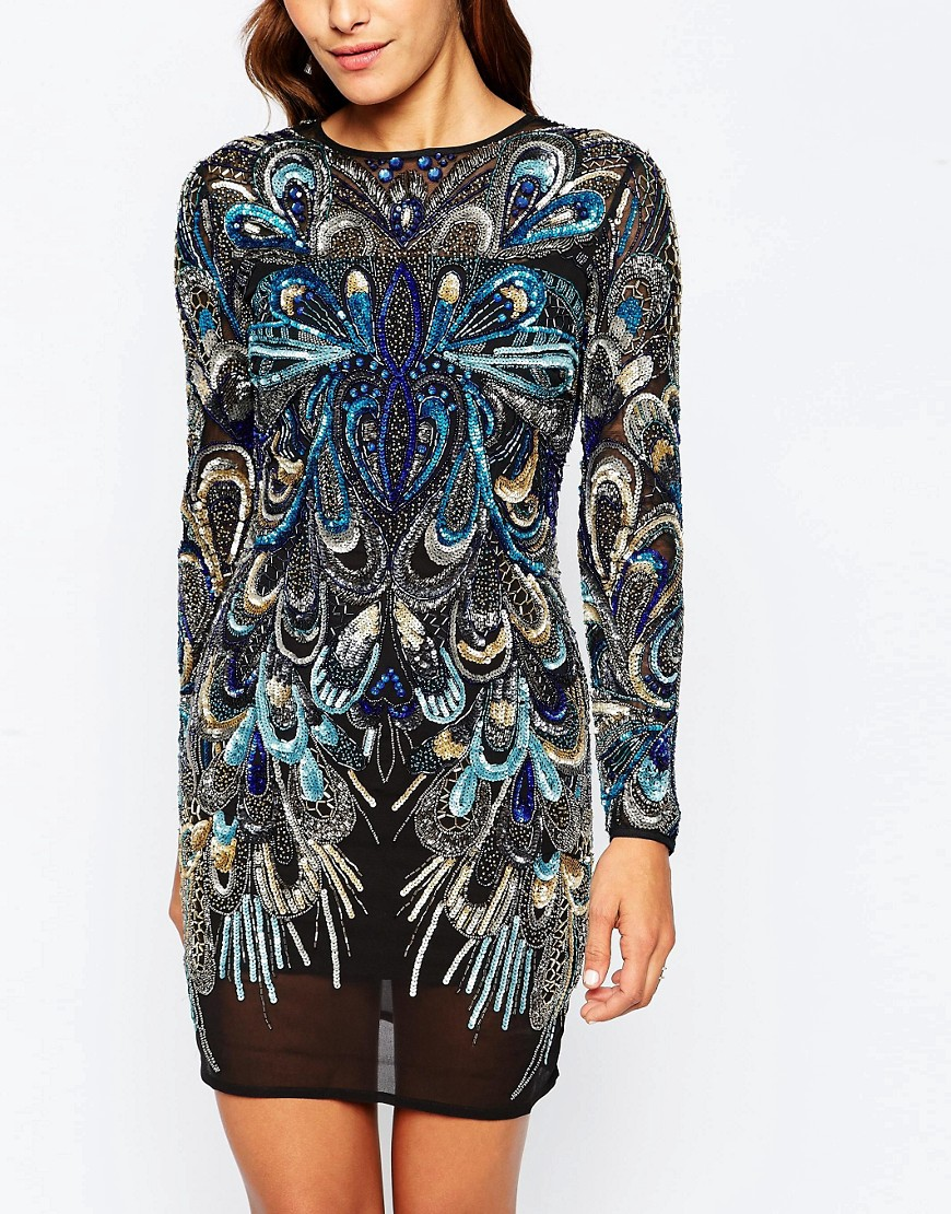 Image 3 of ASOS RED CARPET Peacock Embellished Long Sleeve Mini Bodycon Dress