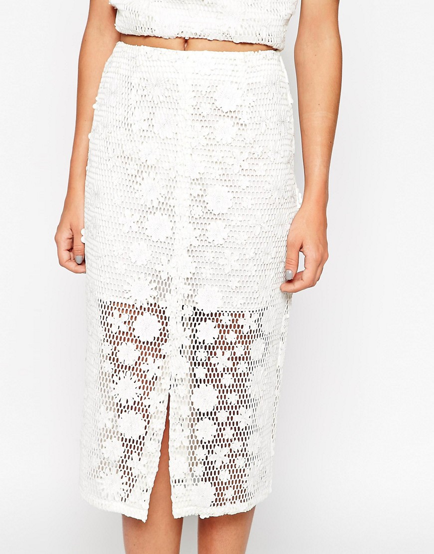 Image 3 of ASOS co-ord Pencil Skirt With Floral Applique