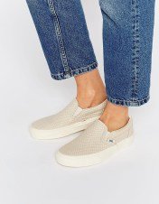 Image 1 ofVans Snake Off White Leather Slip On Trainers
