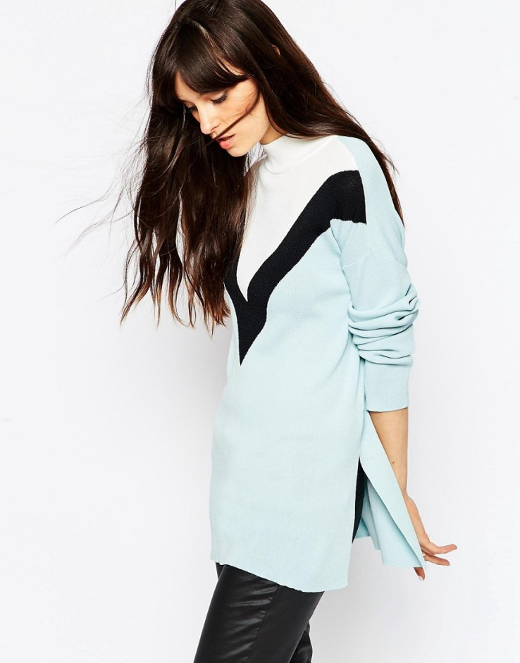 ASOS 2 In 1 Sweater With High Neck in Pale blue