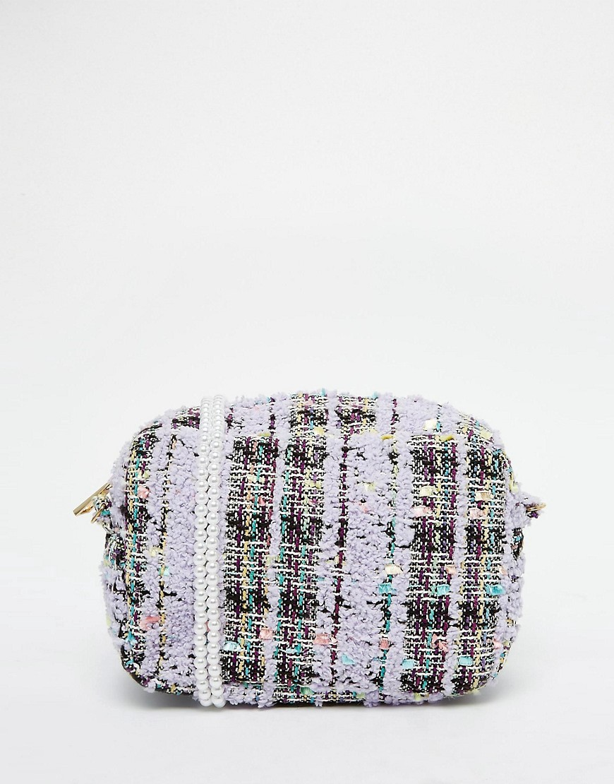 Image 1 of ASOS Tweed Pearl Strap Cross Body