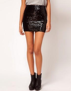 Minifalda lentejuelas negras de ASOS.com.