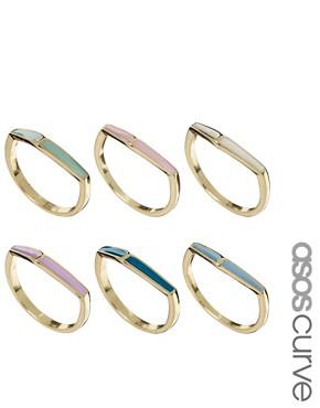 Image 1 ofASOS CURVE Enamel Arrow Ring Multipack