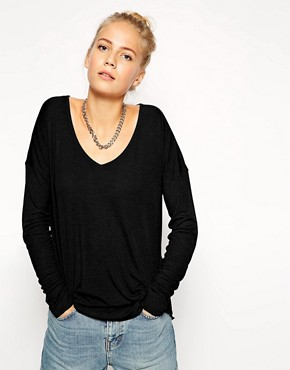 Image 1 of ASOS Top with V Neck and Curved Hem in Rib