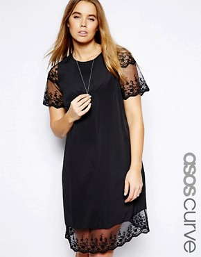 Image 1 of ASOS CURVE Shift Dress With Lace Hem