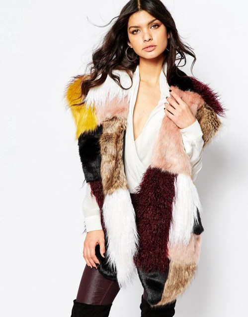 Image 1 of River Island Oversized Patchwork Faux Fur Stole