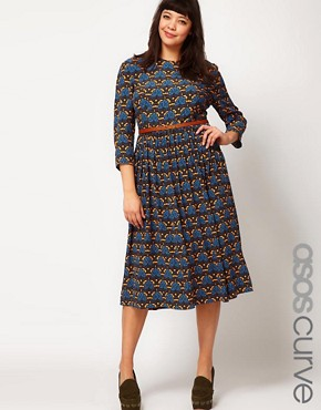 Image 1 of ASOS CURVE Midi Dress in Wallpaper Print
