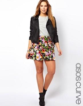 Image 1 ofASOS CURVE Skater Skirt In Floral