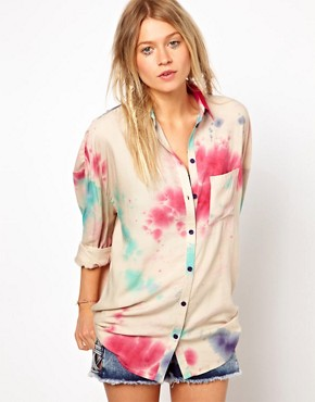 Image 1 of ASOS Boyfriend Shirt In Cosmic Tie Dye Print