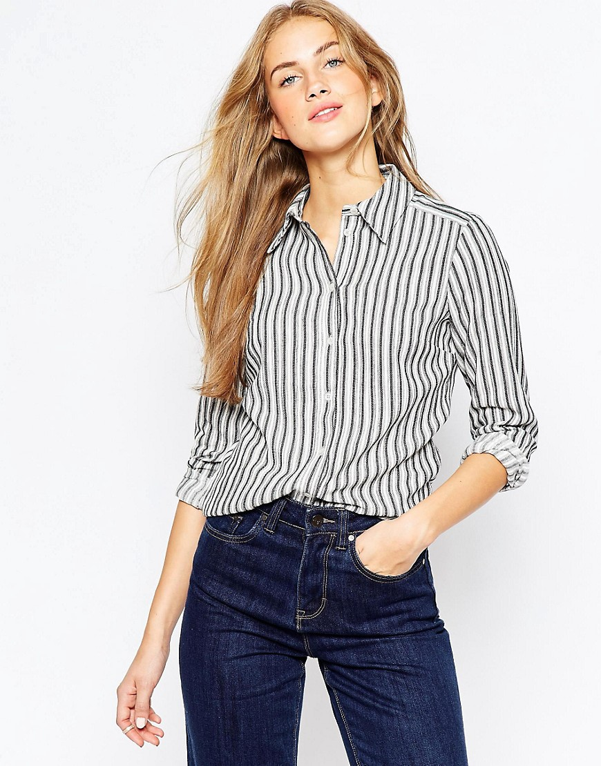 Bild 1 von ASOS – Schmales Hemd mit schwarz-weißen Streifen