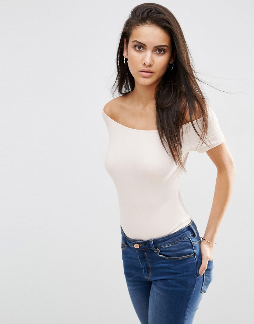 Image 1 ofASOS The Off Shoulder Body With Short Sleeves In Rib