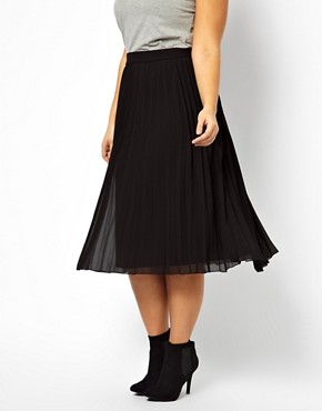 Image 4 of ASOS CURVE Midi Skirt With Pleats