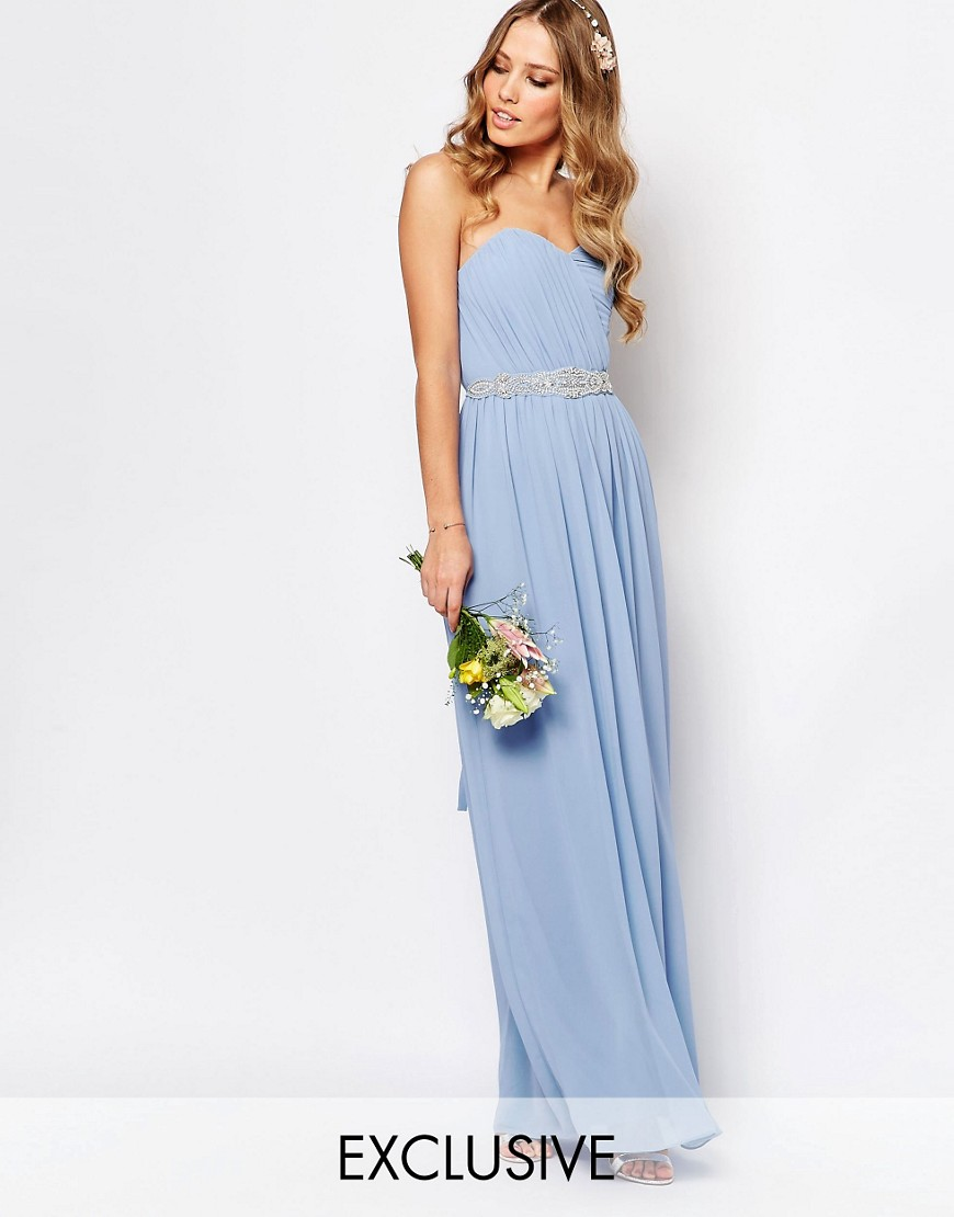 Image 1 of TFNC WEDDING Bandeau Chiffon Maxi Dress